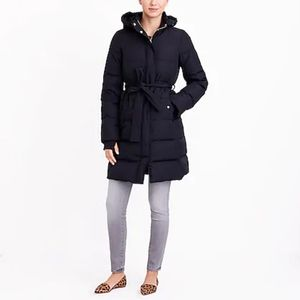 J. Crew Mercantile Long Belted Puffer